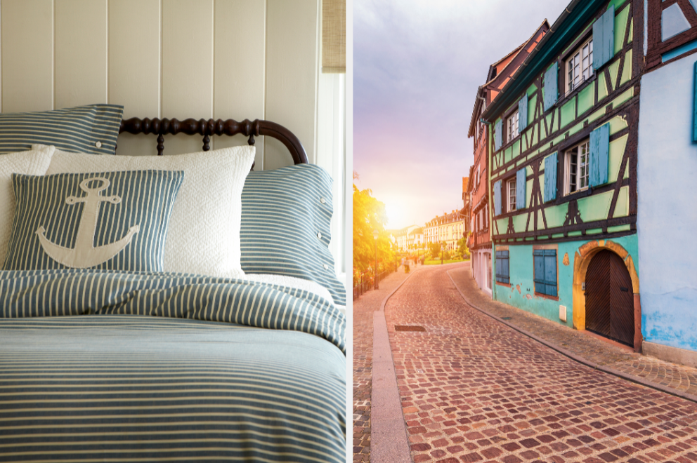 Bed with anchor and city in France