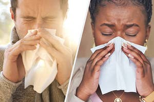 A man and woman sneezing