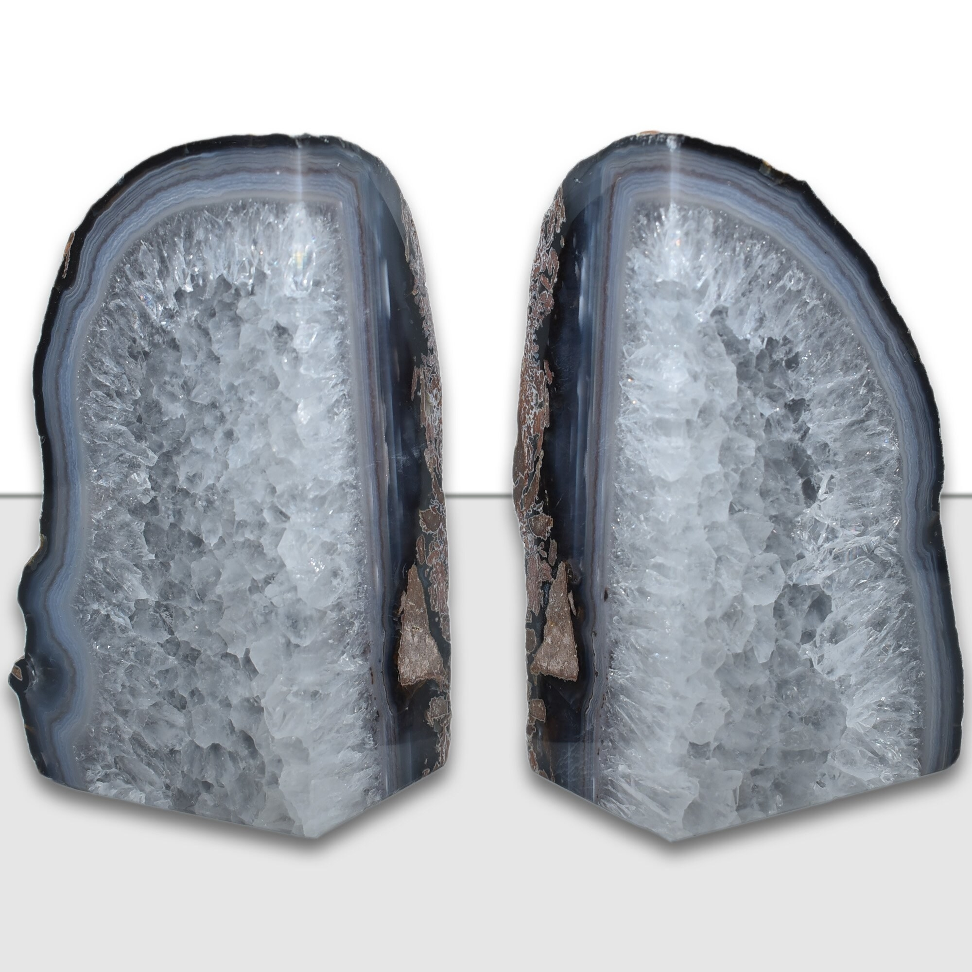 Blue and gray agate bookends