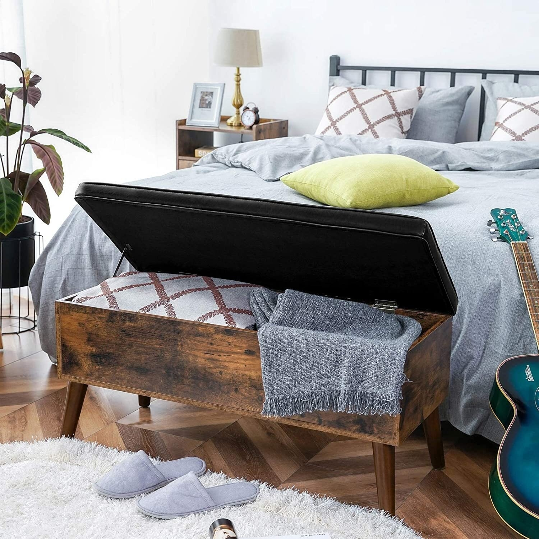 Storage bench in bedroom