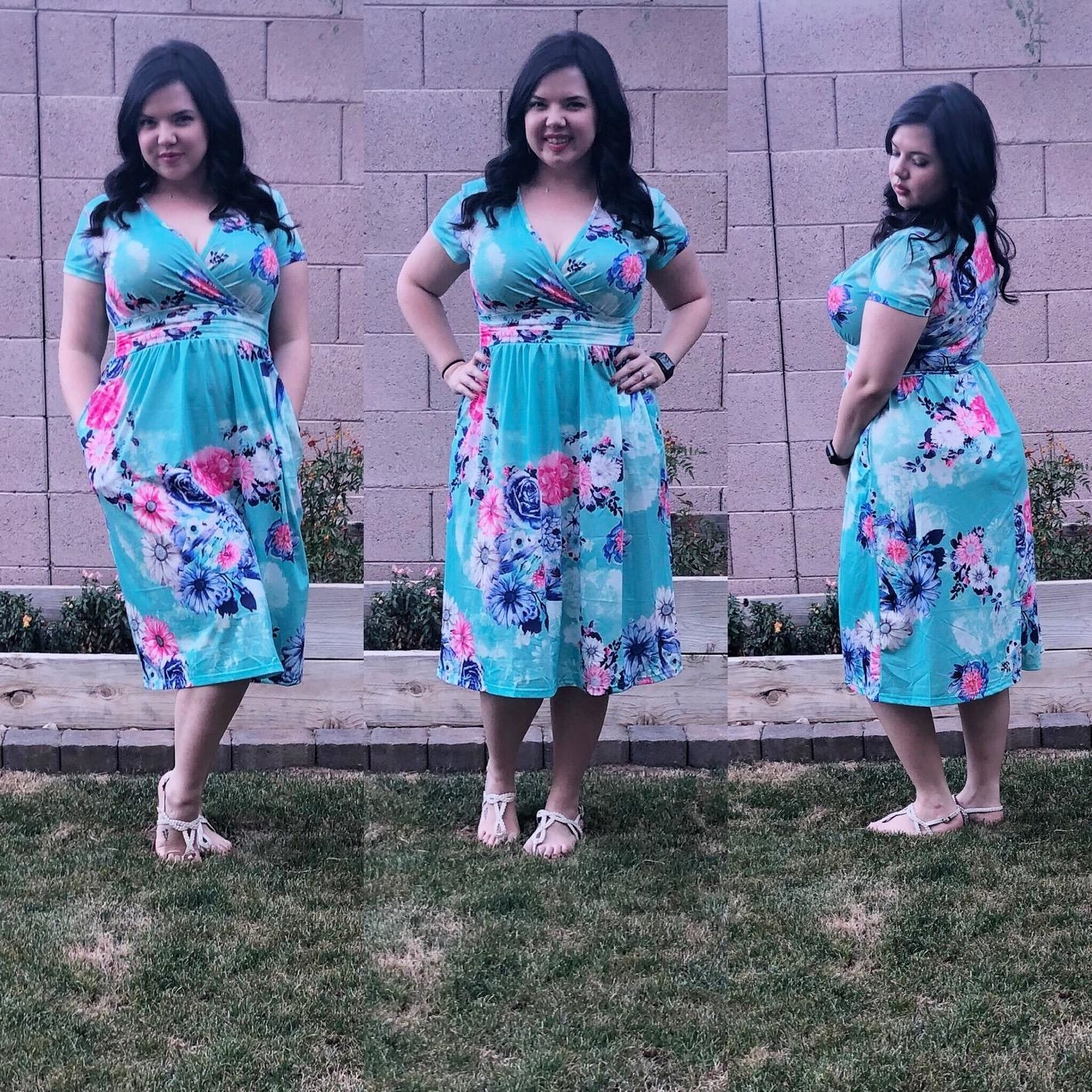 The dress in a light blue pattern