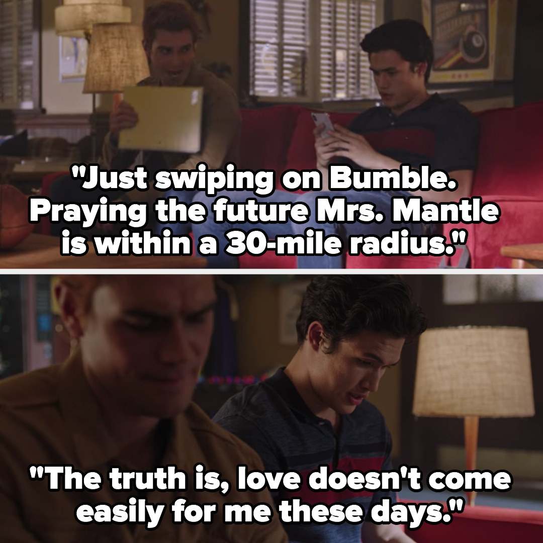 """Reggie: """"Just swiping on Bumble, praying the future Mrs. Mantle is within a 30-mile radius, love doesn't come easily for me these days"""""""