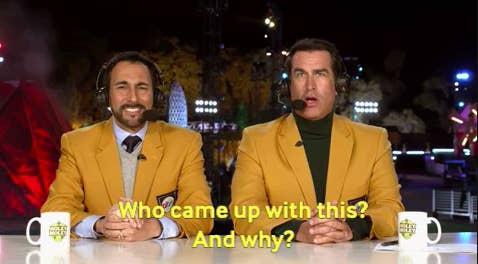 """Rob Riggle saying, """"Who came up with this? And why?"""""""
