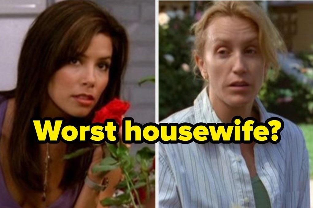 """a woman leans forward, smelling a flower. next to her is a woman who looks tired. above the image is the question, """"worst housewife?"""""""