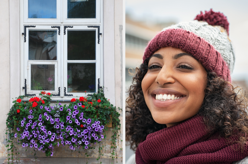 Flower window sill and smiling woman