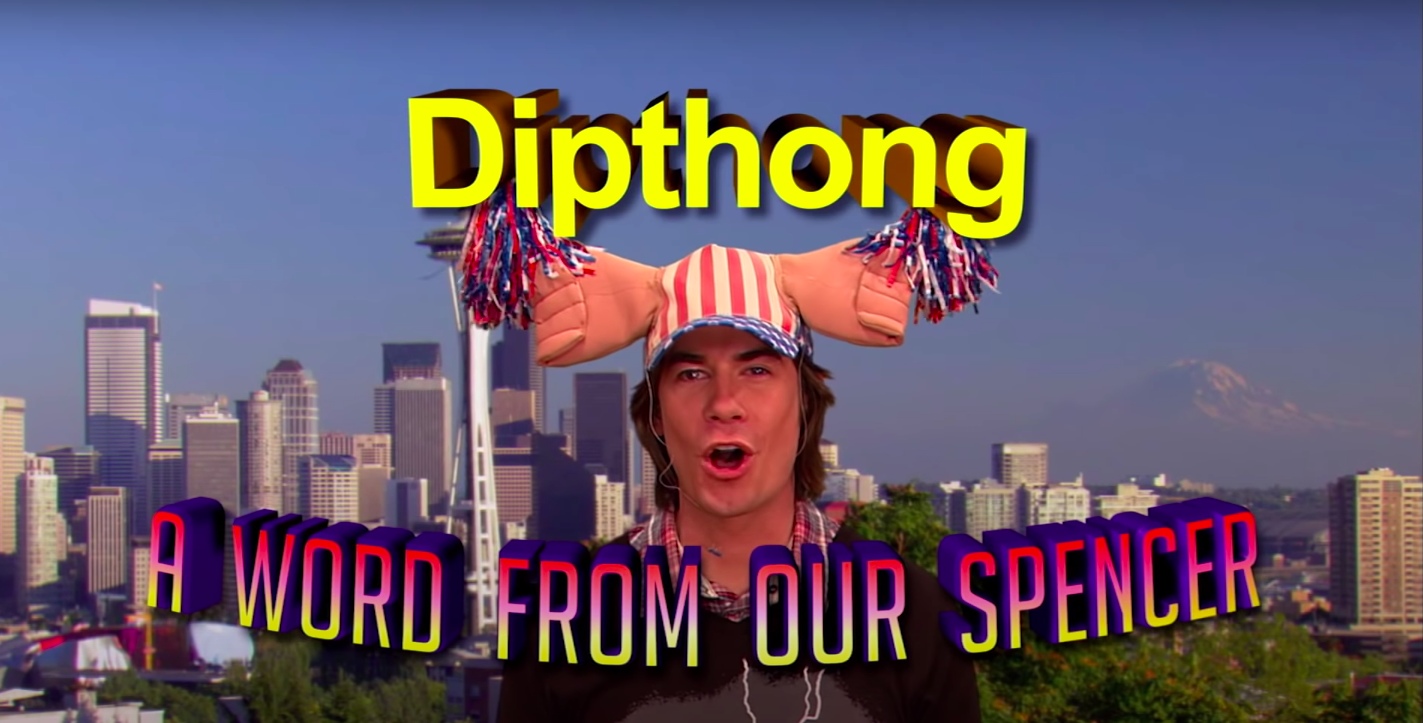 """Over chyron that reads, """"A word from our Spencer,"""" Spencer says, """"Dipthong"""""""