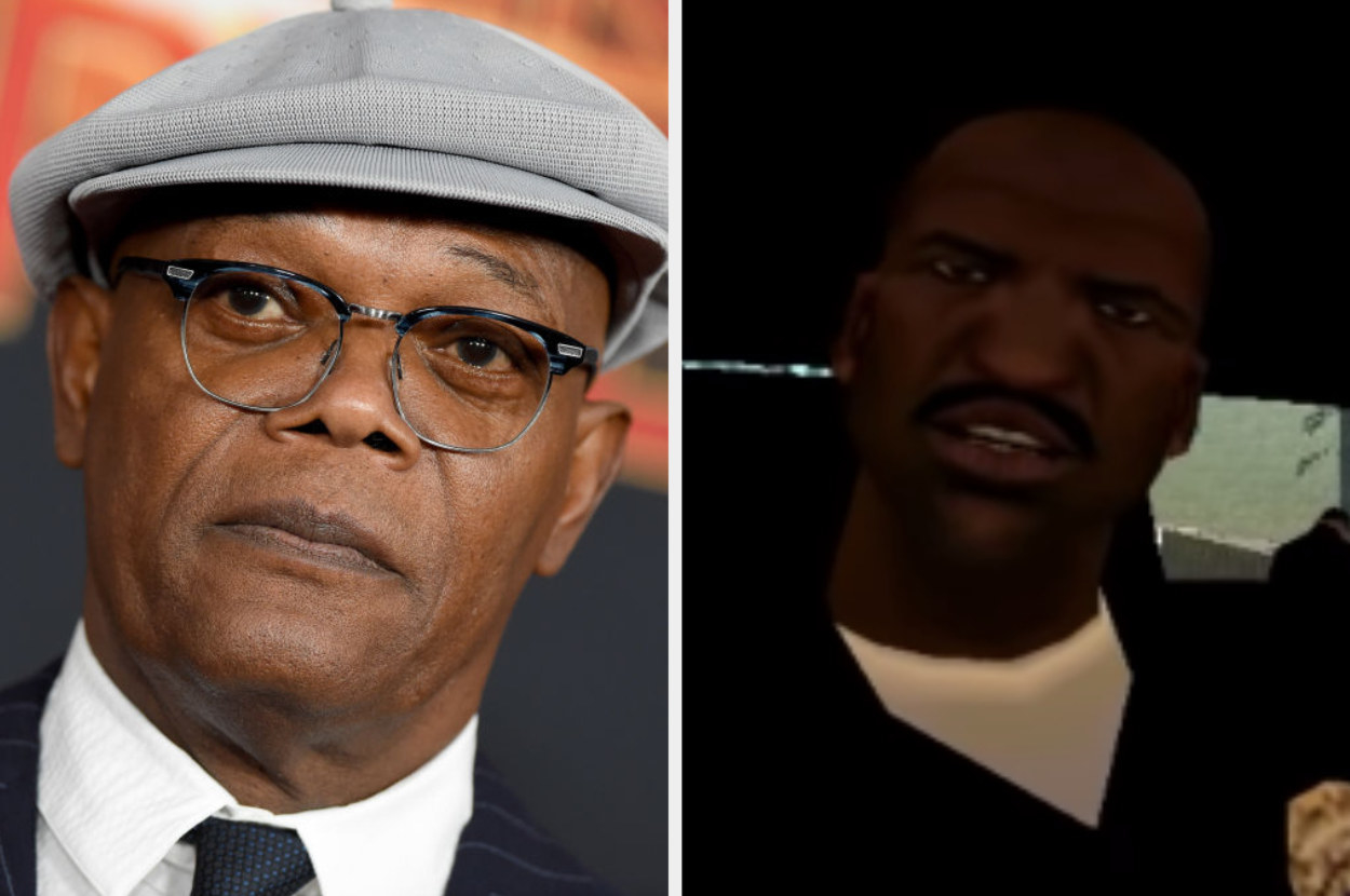 Samuel L. Jackson posing for a photo, Officer Tenpenny sitting in a police car in Grand Theft Auto: San Andreas