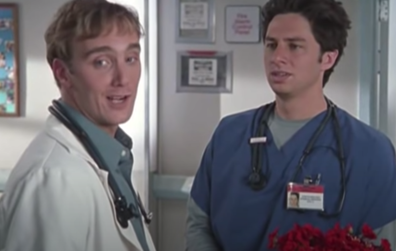 """""""Scrubs"""" characters at the hospital at work"""