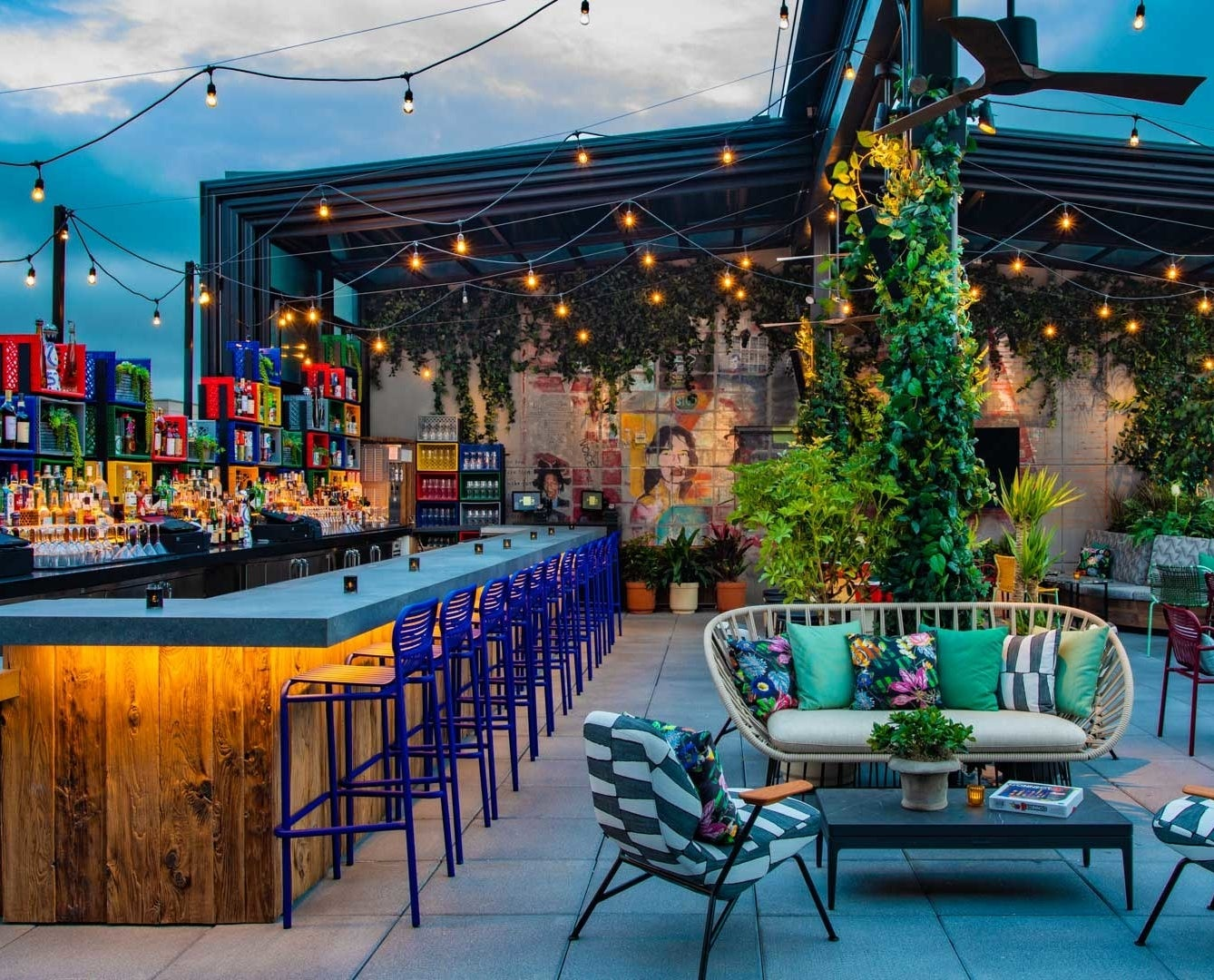 the outdoor rooftop bar