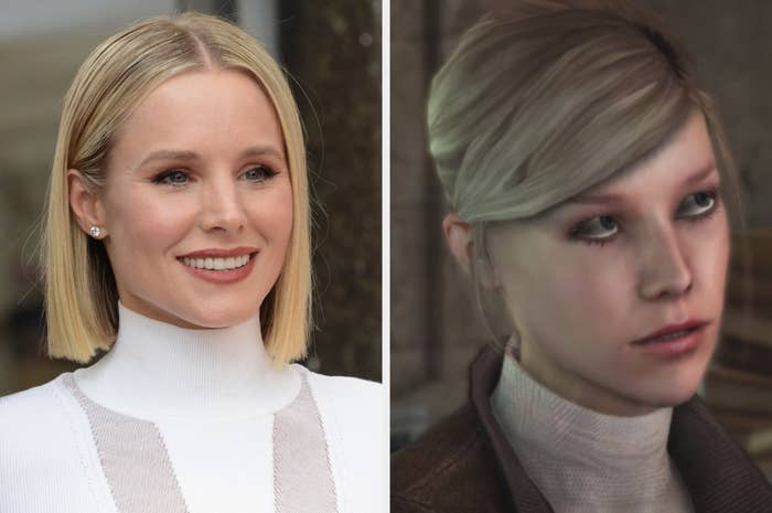 Kristen Bell posing for a photo, Lucy Stillman wearing a white turtleneck and brown jacket in Assassin's Creed