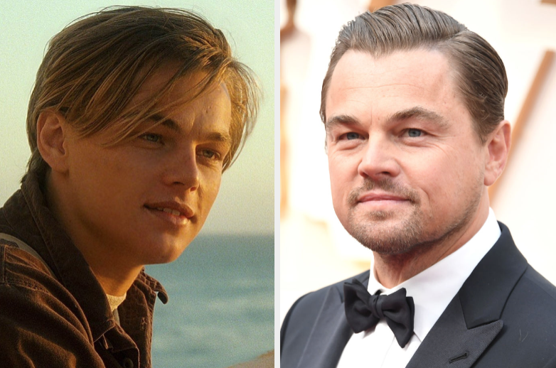 """Leo as Jack in """"Titanic"""" and at an award ceremony"""