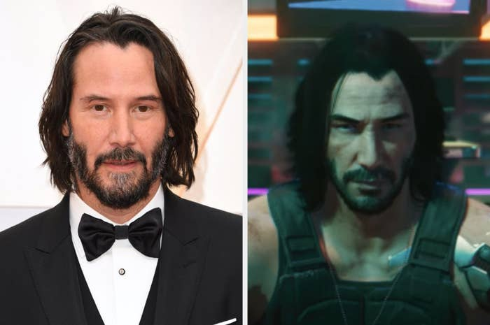 Keanu Reeves posing for a photo, Johnny Silverhand wearing a bulletproof vest and dogtags in Cyberpunk 2077