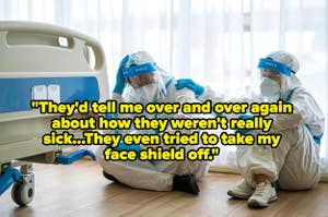 Two doctors in full PPE talking, captioned