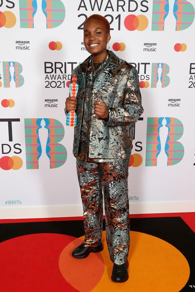 Arlo Parks, winner of the Breakthrough Artist award poses in the media room during The BRIT Awards 2021