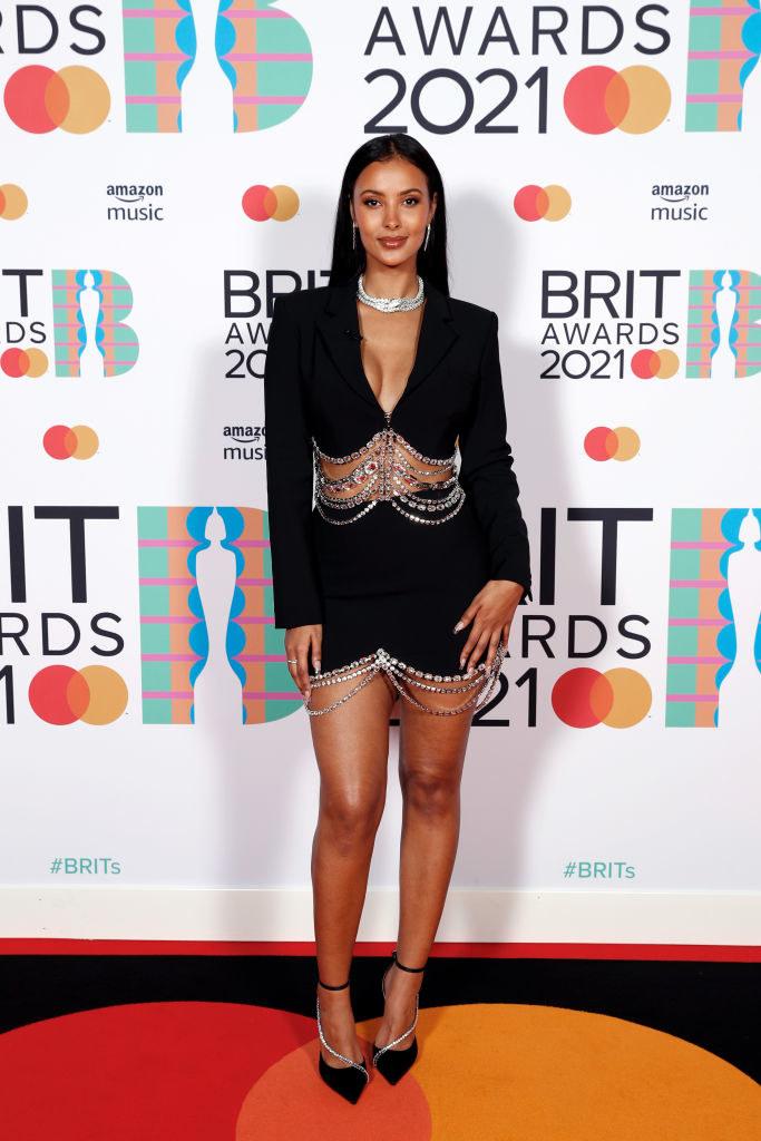 Maya Jama poses in the media room during The BRIT Awards 2021
