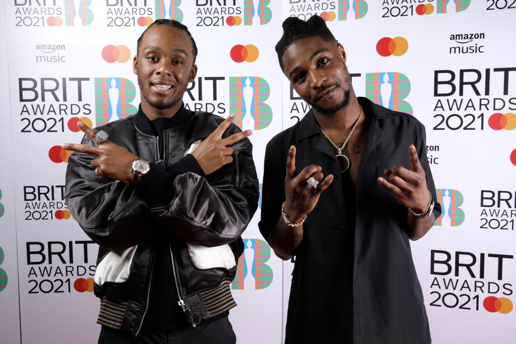 Young T and Bugsey pose in the media room during The BRIT Awards 2021
