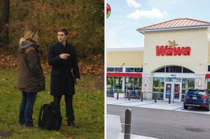 Colin and Mare in a field split with Wawa exterior