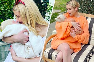 Emma Roberts and her son Rhodes