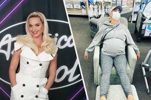 凯蒂佩里在美国偶像的套装与佩里坐在她的脚上,怀孕了