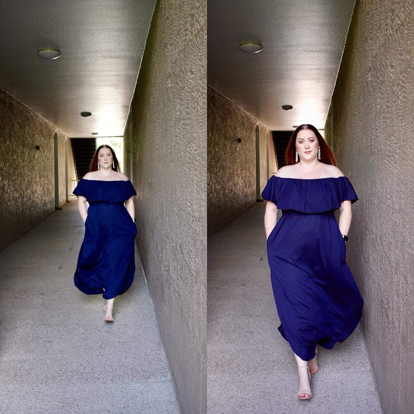 The dress in royal blue