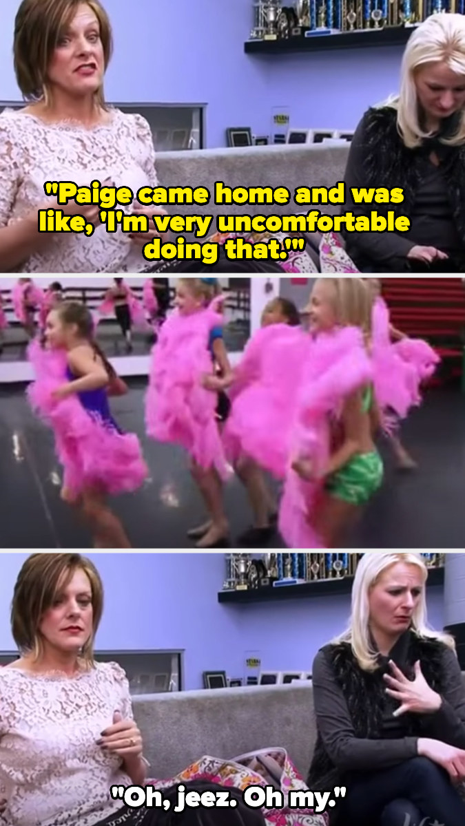 The moms, looking uncomfortable, talk about how uncomfortable their kids are as they watch them rehearse the showgirl dance
