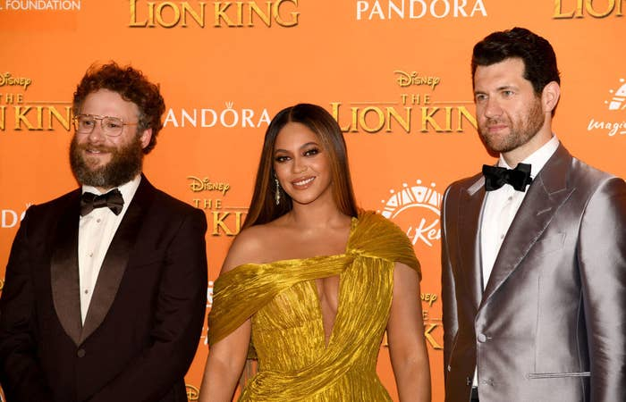 """(L-R) Seth Rogen, Beyoncé, and Billy Eichner attend the European Premiere of Disney's """"The Lion King"""""""