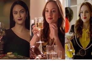 Camila Mendes as Veronica Lodge, Leighton Meester as Blair Waldorf, and Elizabeth Gillies as Fallon Carrington.