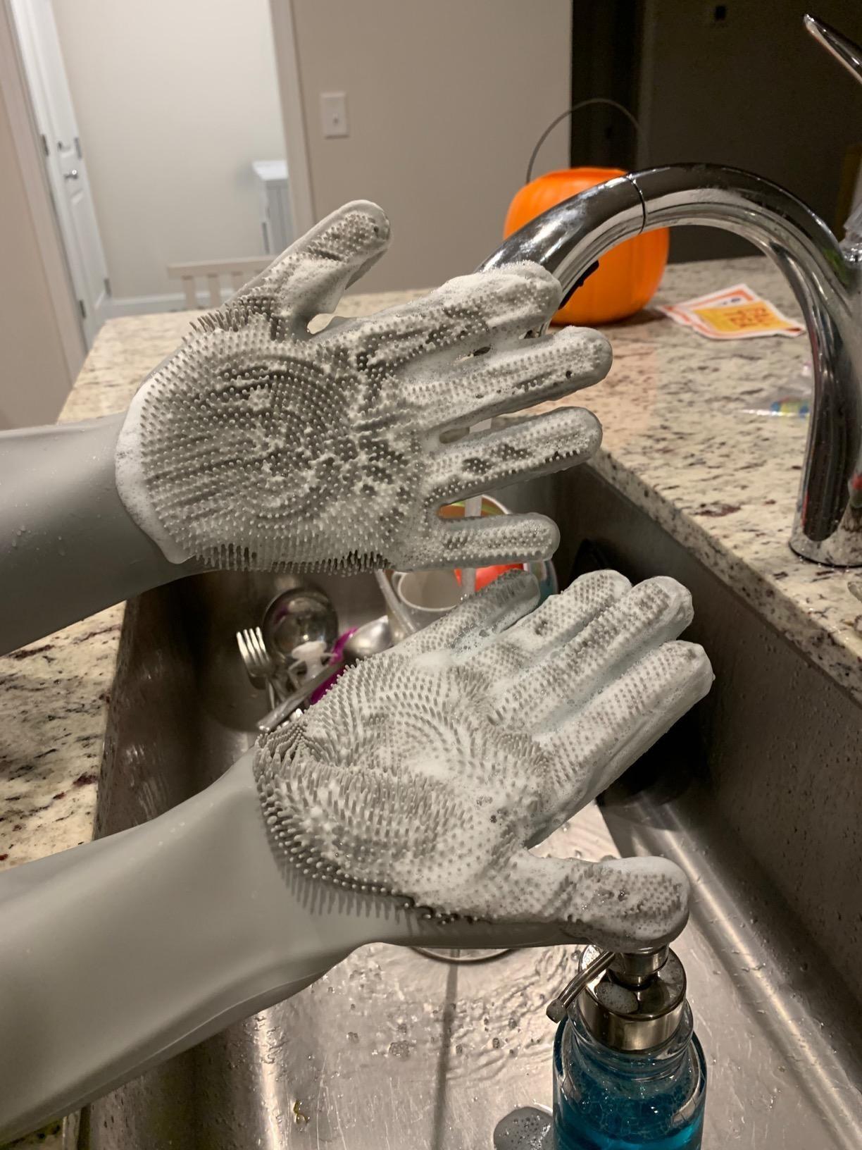 Reviewer wearing dishwashing gloves