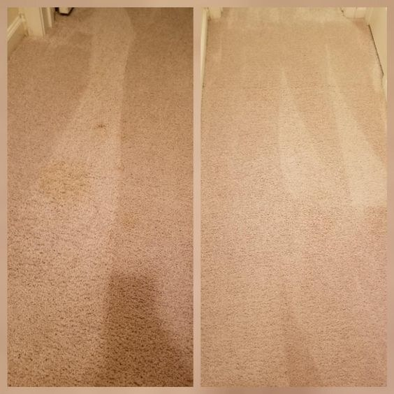 reviewer before and after picture of a dirty carpet and clean carpet after using the product