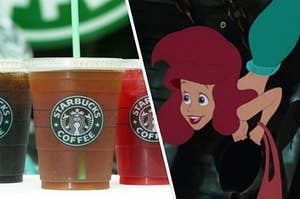 Three iced Starbucks drinks sit on a table and Princess Ariel grips the edge of a sunken ship's window excitedly.
