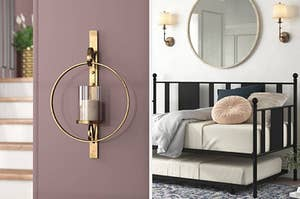a brass sconce and a black day bed