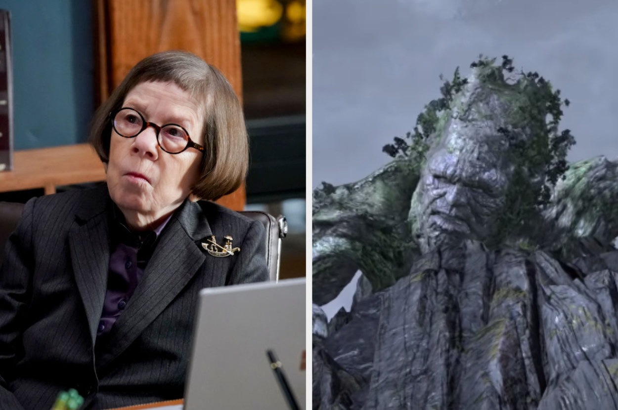 Linda Hunt sitting at a desk, Gaia climbing up a cliff in God of War