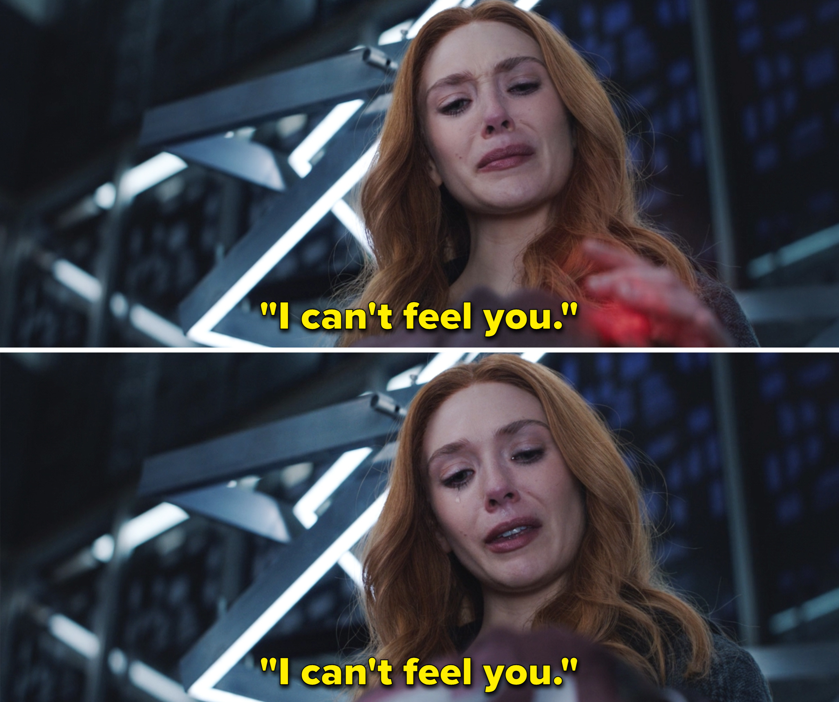 """Wanda using her magic on Vision and repeating, """"I can't feel you"""""""