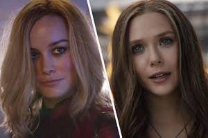 "Brie Larson as Carol Danvers in the movie ""Captain Marvel"" and Elizabeth Olsen as Wanda Maximoff in the movie ""Captain America: Civil War."""