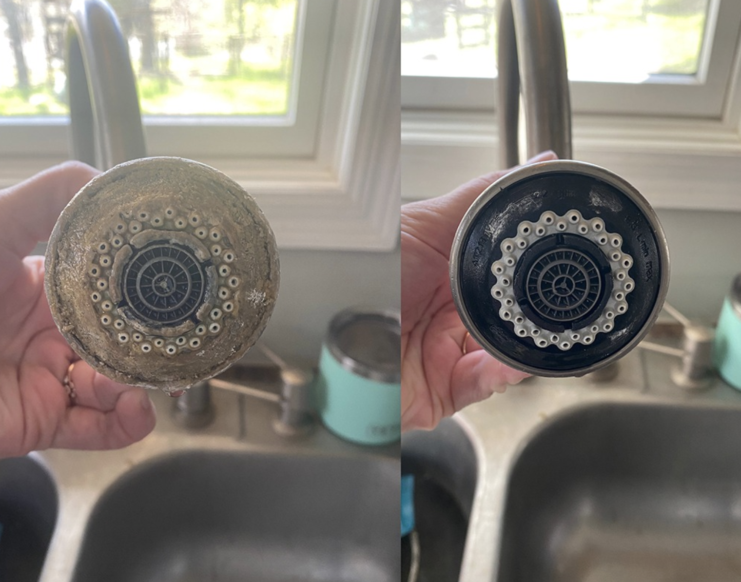 reviewer sink faucet with hard water build-up on left and looking completely clean on right