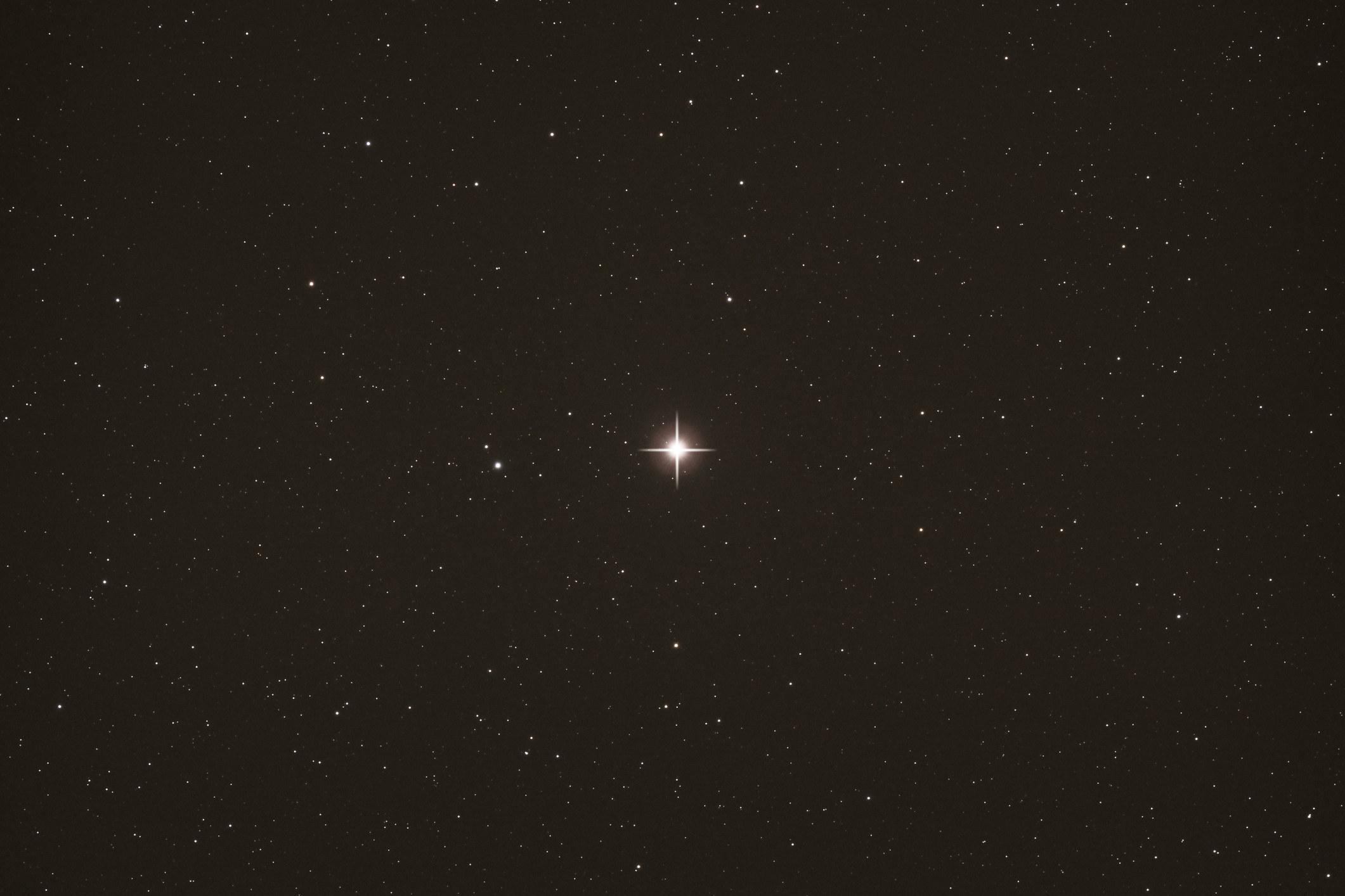 Polaris shining brightly in the night sky
