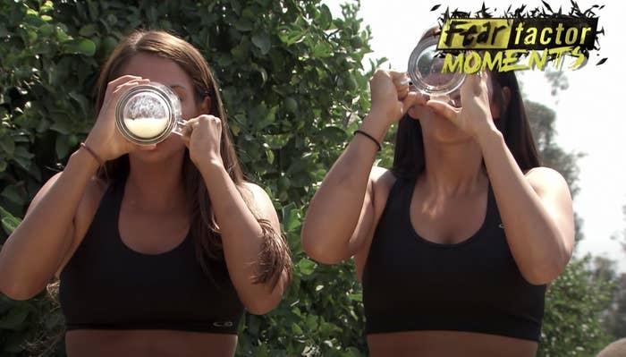 two women drinking donkey semen and urine