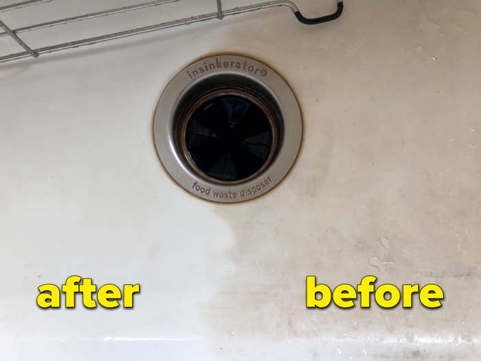 reviewer image of a sink; left is clean and right side is dark and dirty