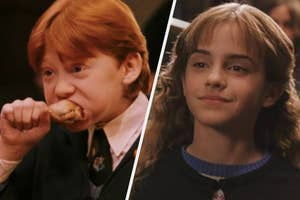 Rupert Grint as Ron Weasley and Emma Watson as Hermione Granger in the