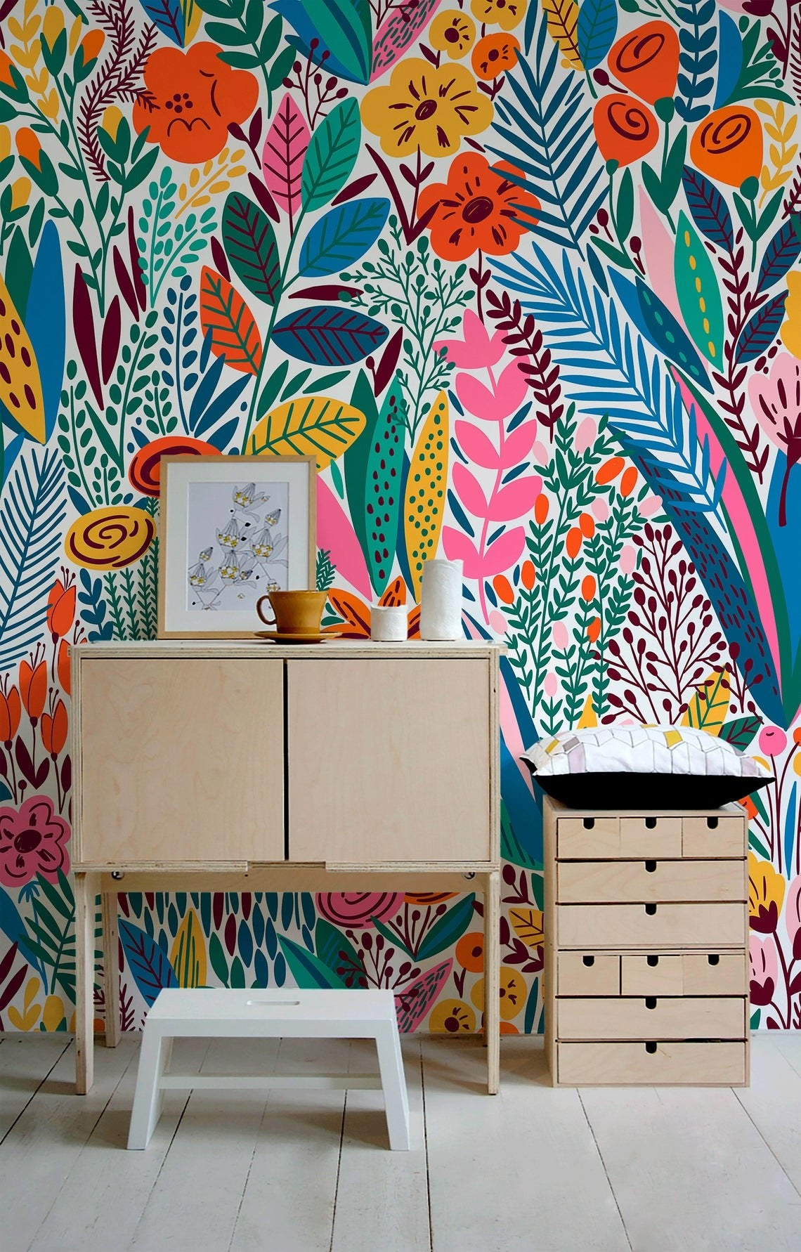 The wallpaper installed on an office wall