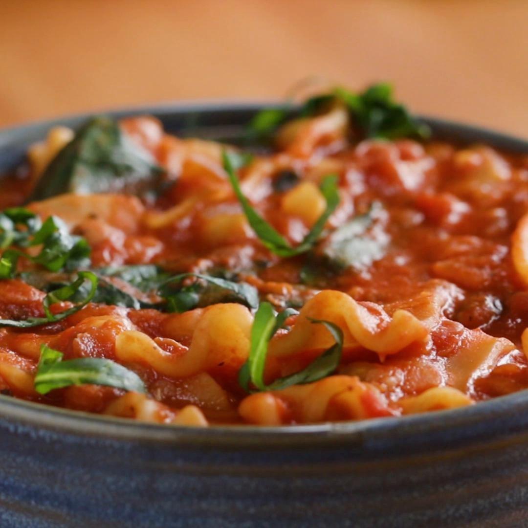 Bowl of soupy lasagna