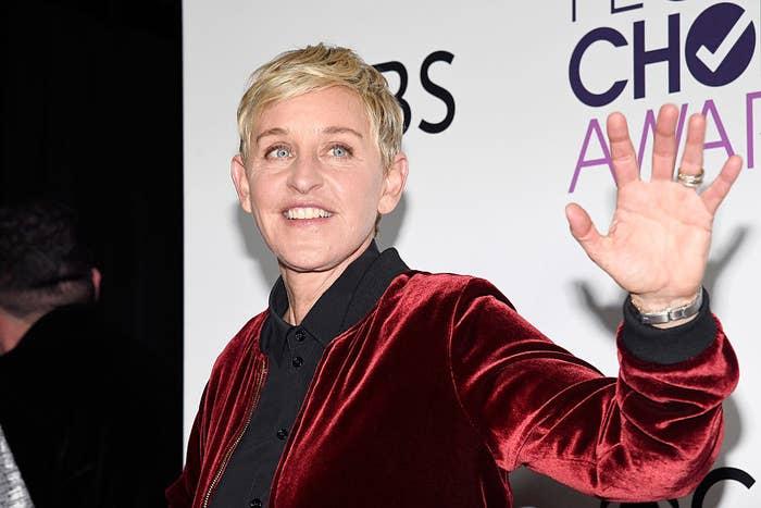 Ellen DeGeneres waving on the red carpet