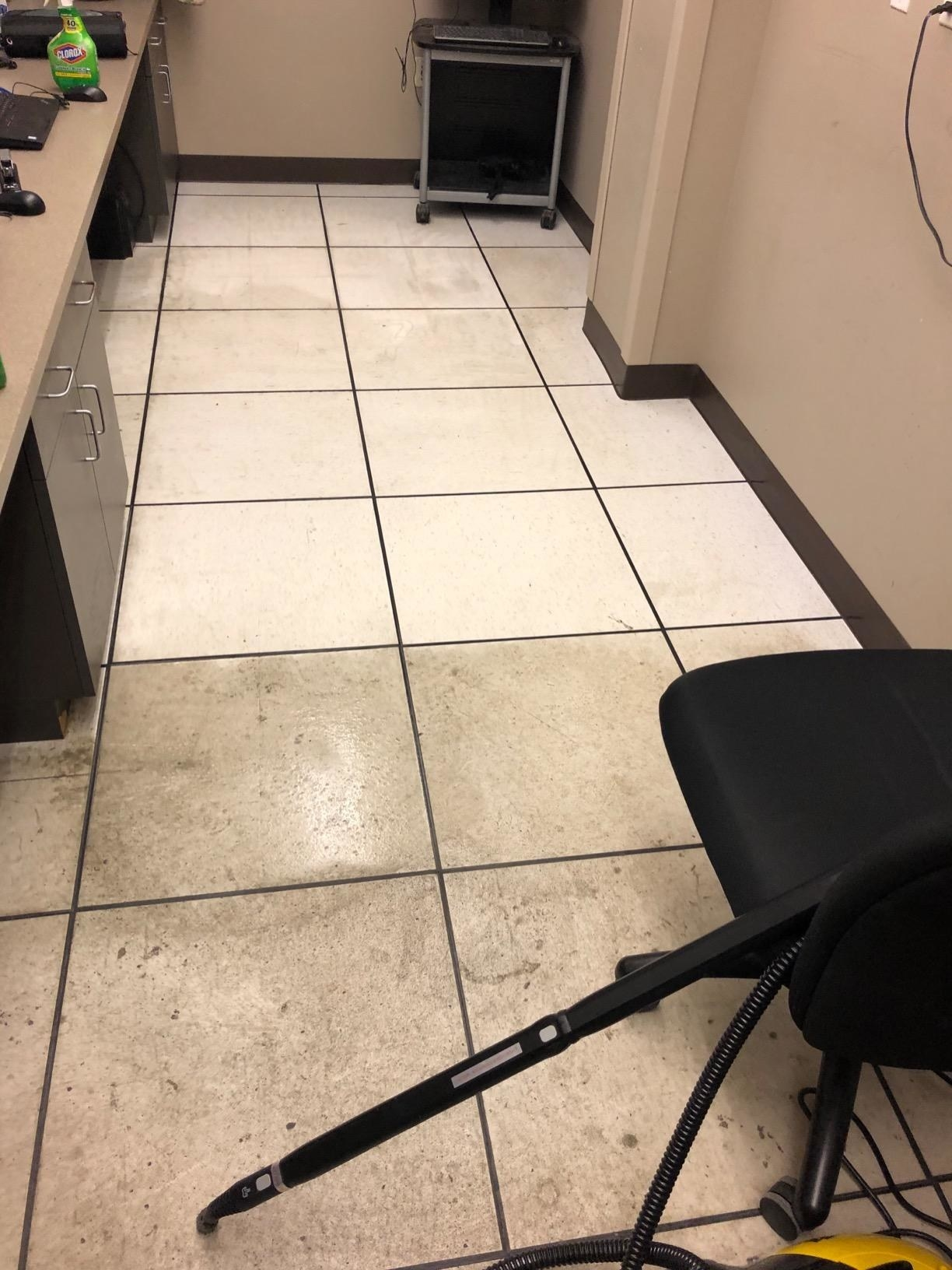 reviewer image of a tile floor where half of it has been steam cleaned and the other half is dark and dirty