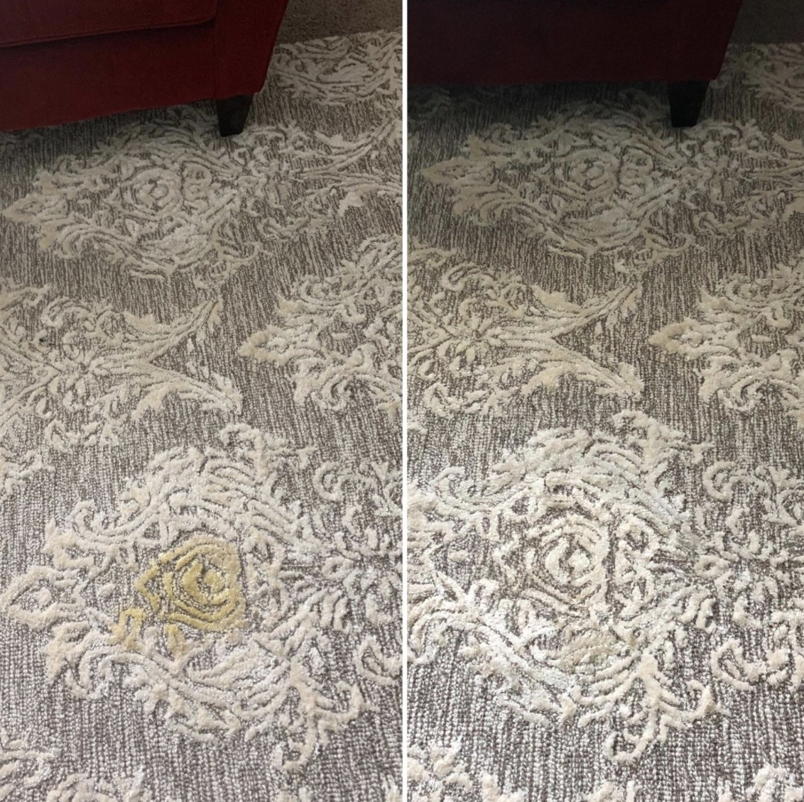 a before and after image of a yellow stain on a carpet being lifted with the stain remover