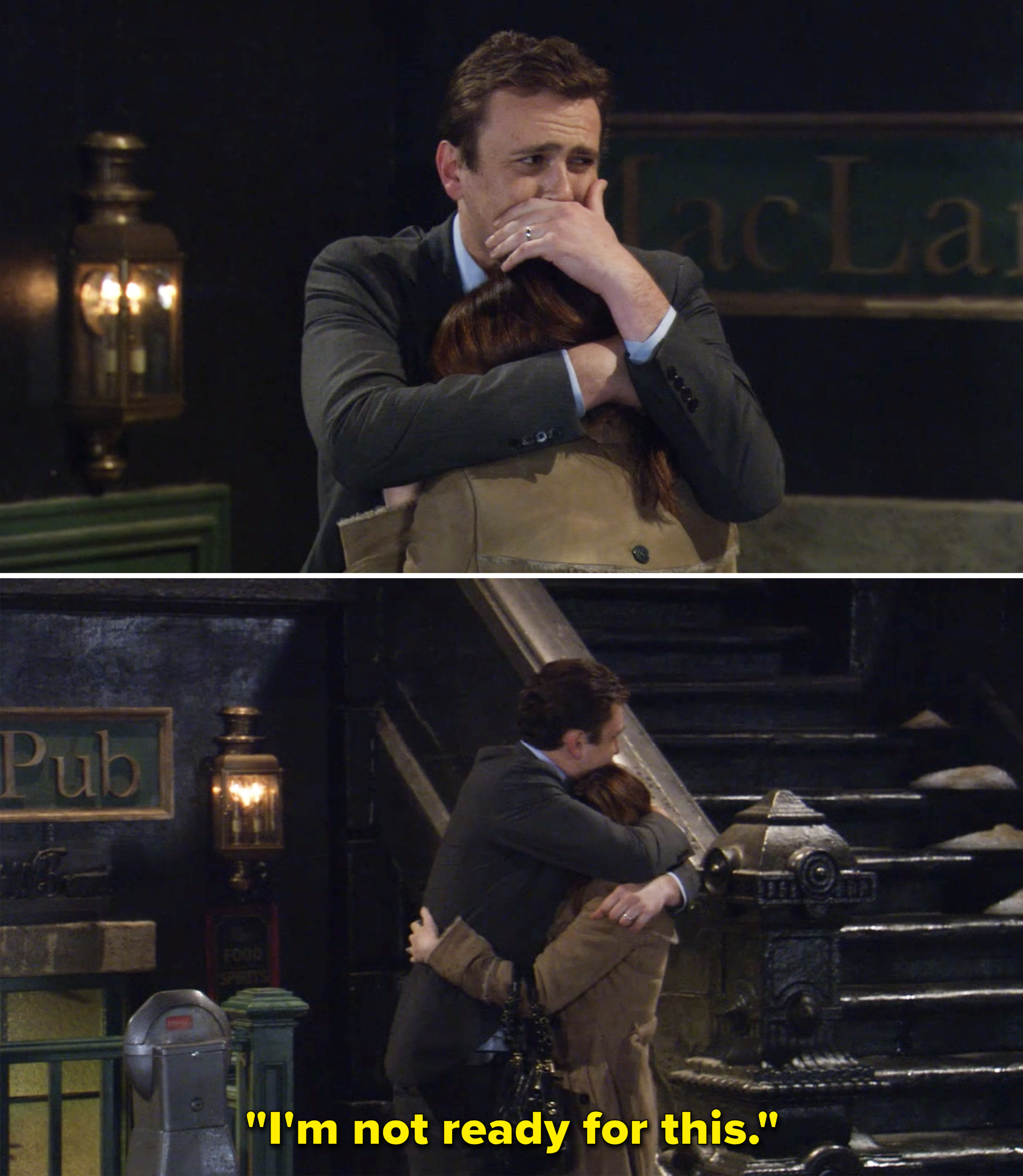 """Marshall hugging Lily and saying, 'I'm not ready for this"""""""