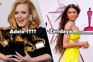 A side by side photo of Adele and Zendaya