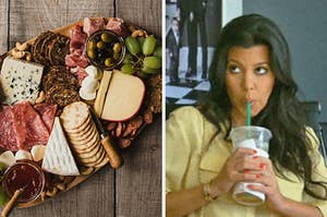 On the left, a charcuterie board with various cheeses, crackers, and meats as well as grapes, olives, and spreads, and on the right, Kourtney Kardashian sipping a Starbucks drink