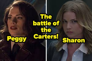 """Hayley Atwell as Peggy Carter in the movie """"Captain America: The First Avenger"""" and Emily VanCamp as Sharon Carter in the movie """"Captain America: The Winter Solider."""""""