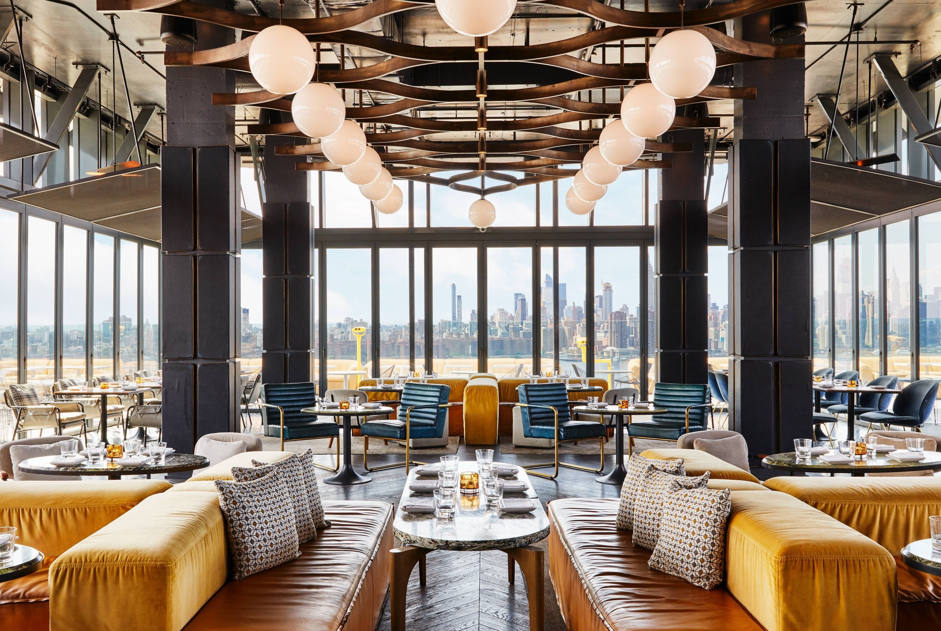 the bar overlooking the NYC skyline