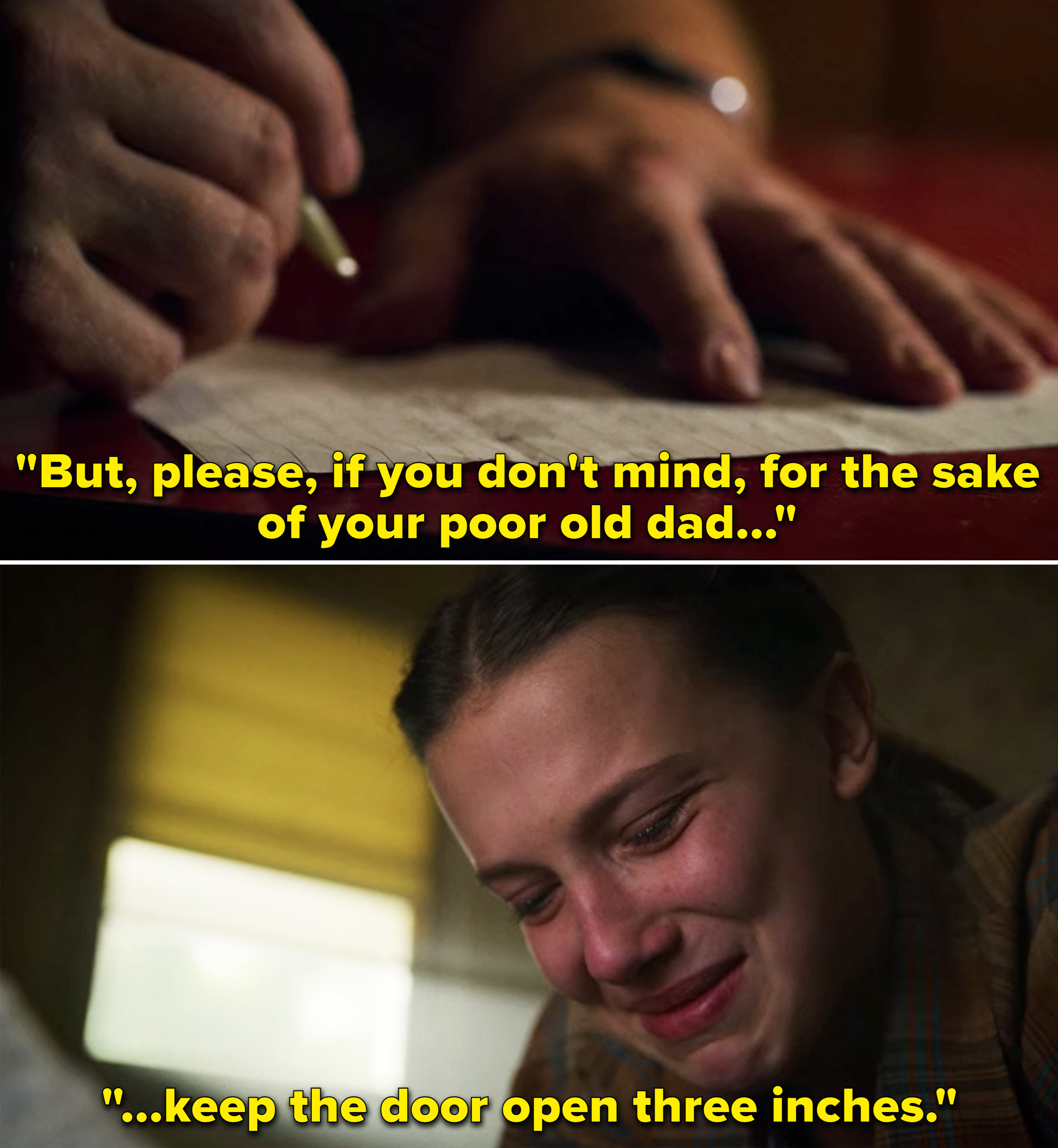 """Eleven reading Hopper's letter, which says, """"But, please, if you don't mind, for the sake of your poor old dad, keep the door open 3 inches"""""""
